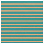 [ Thumbnail: Brown & Teal Colored Striped/Lined Pattern Fabric ]