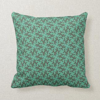 Brown & Teal Damask Throw Pillow