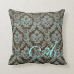 Brown / Teal Distressed Damask Personalized Pillow Throw Pillow