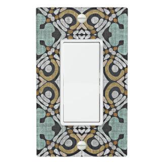 Brown Teal Green Gray Hip Orient Bali Art Motif Light Switch Cover