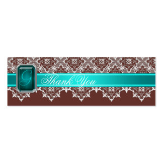 Brown & Teal Lace Jeweled Wedding Silver Favor Tag Double-Sided Mini Business Cards (Pack Of 20)