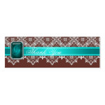 Brown & Teal Lace Jeweled Wedding Silver Favor Tag Business Cards