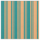 [ Thumbnail: Brown & Teal Lined Pattern Fabric ]