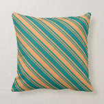 [ Thumbnail: Brown & Teal Lined Pattern Throw Pillow ]