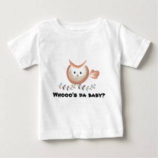 Brown Teal Owl Art Who's the baby? Baby T-Shirt