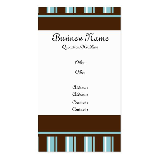 Brown & Teal Striped Business Card