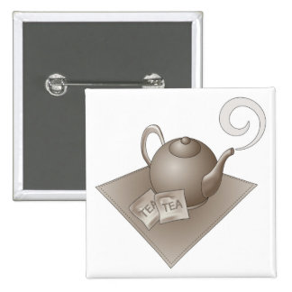 Brown teapot with teabags pin