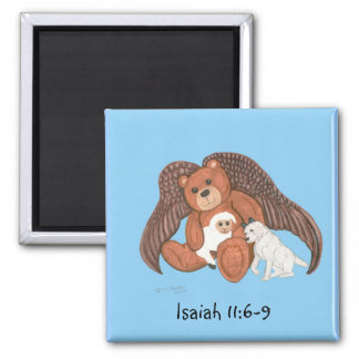 Brown Teddy Angel with Isaiah 11:6-9 magnet