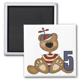 Brown Teddy Bear 5th Birthday Gifts 2 Inch Square Magnet