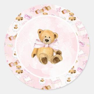 Brown Teddy Bear Baby Shower Classic Round Sticker
