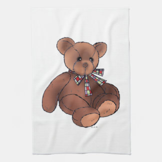Brown teddy bear hand towels