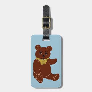 Brown Teddy Bear Light Blue Luggage Tag