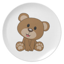 Brown Teddy Bear Melamine Plate