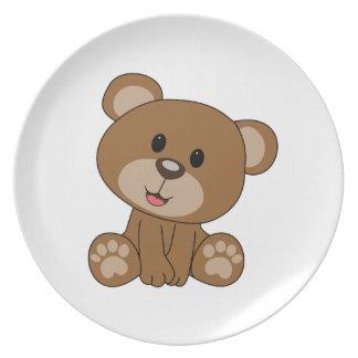 Brown Teddy Bear Melamine Plate