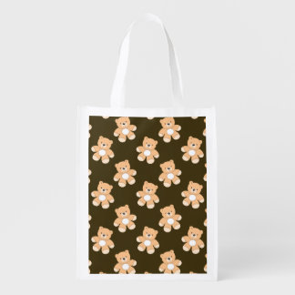Brown Teddy Bear Pattern Grocery Bag