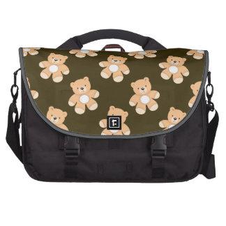 Brown Teddy Bear Pattern Laptop Messenger Bag