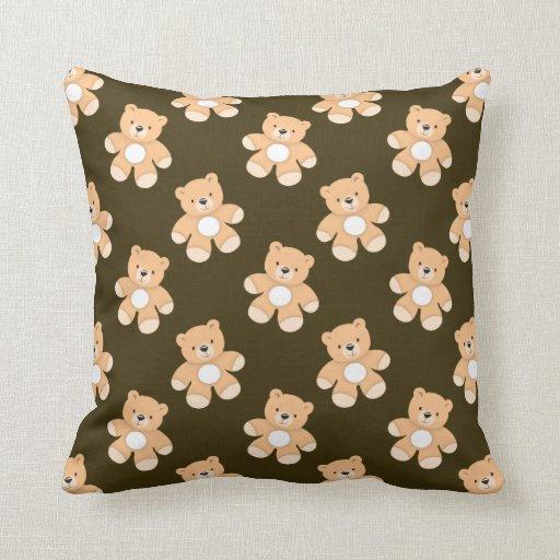Brown Teddy Bear Pattern Throw Pillows
