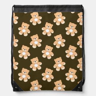 Brown Teddy Bear Pattern Cinch Bags