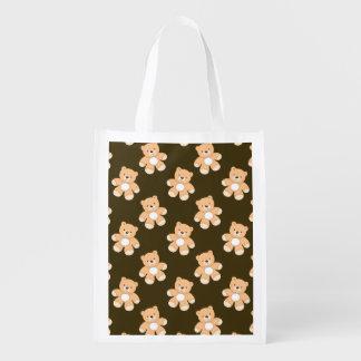Brown Teddy Bear Pattern Reusable Grocery Bag