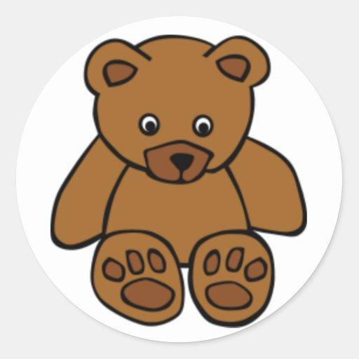 Brown Teddy Bear Round Stickers