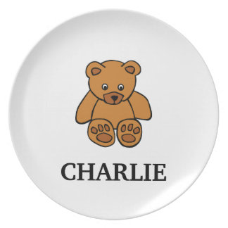 Brown Teddy Bear Toddler Plate with Name