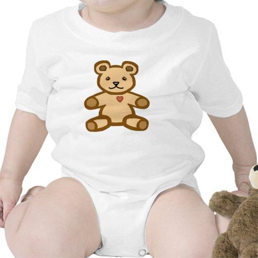 Brown teddy bear with love heart baby bodysuit