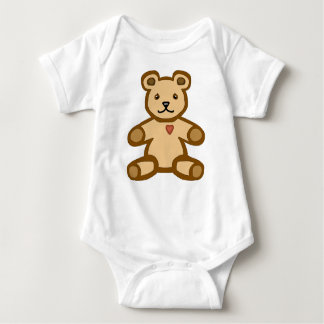 Brown teddy bear with love heart baby bodysuit