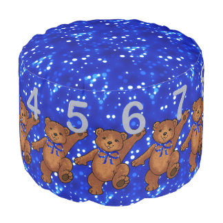 Brown Teddy Bear with Numbers and Blue Lights Pouf