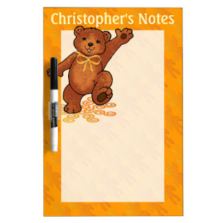 Brown Teddy Bear With Orange Bow Dry Erase Board