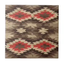 Brown/Terra Cotta Navajo Pattern Ceramic Tile