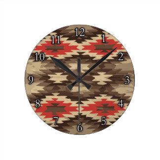 Brown/Terra Cotta Navajo Pattern Round Wall Clocks