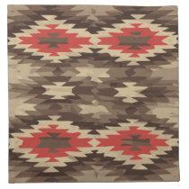 Brown/Terra Cotta Navajo Pattern Cloth Napkin