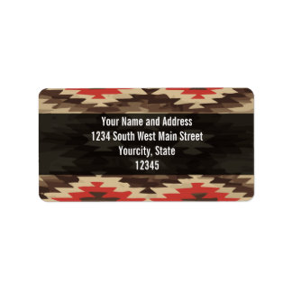 Brown/Terra Cotta Navajo Pattern Personalized Address Label