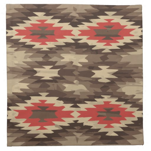 Brown/Terra Cotta Navajo Pattern Printed Napkin