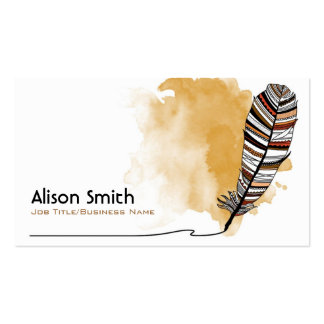 Brown/terracotta Aztec Feather Business Card Templates