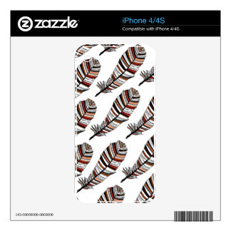 Brown/terracotta Aztec Feathers pattern Skin For The iPhone 4