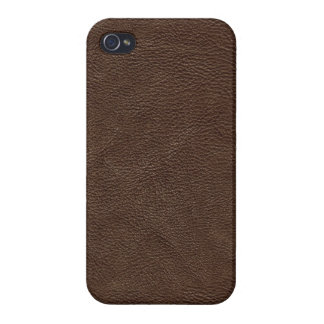 Brown Textured Leather Cover For iPhone 4