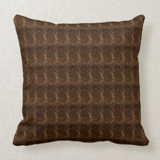 Brown Textured Print Cotton Throw Pillow 20x20