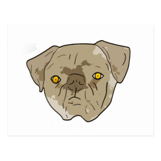 Brown textured pug cutout postcard