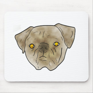 Brown textured pug mouse pad