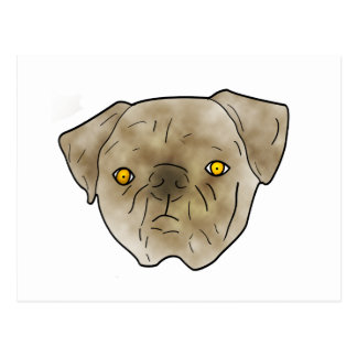 Brown textured pug postcard