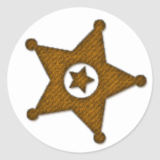 Brown Textured Western Sherriff Badge Stickers