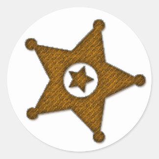 Brown Textured Western Sherriff Badge Stickers