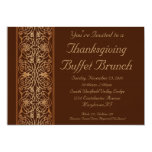 "Brown Thanksgiving Dinner or Buffet Invitations 5"" X 7"" Invitation Card"
