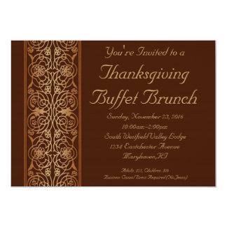 "Brown Thanksgiving Dinner or Buffet Invitations 5"" X 7"" Invitation Card"