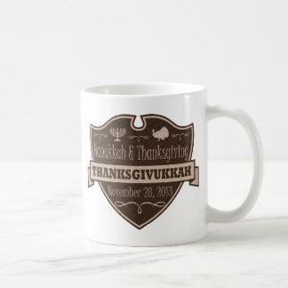 Brown Thanksgivukkah Crest Classic White Coffee Mug