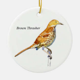 Brown Thrasher Ceramic Ornament