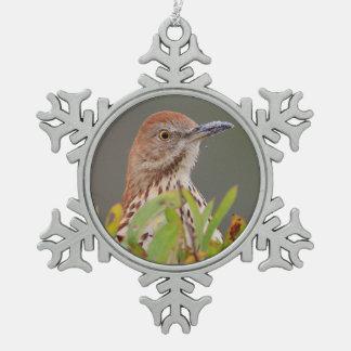 Brown Thrasher Snowflake Pewter Christmas Ornament