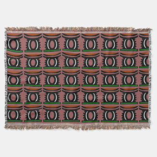 Brown throw blanket with Africa symbol.