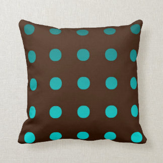 Brown Throw Pillow with Turquoise Dots
